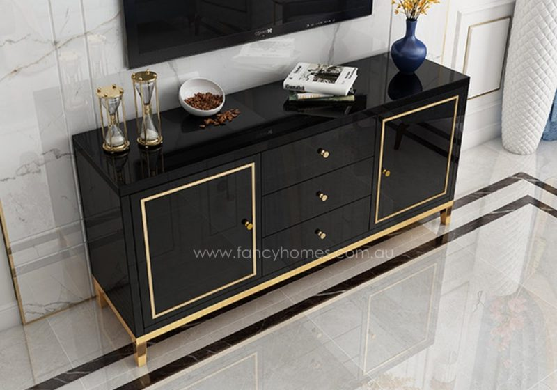 Fancy Homes Vermont glass top buffet table in black