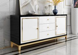 Fancy Homes Vermont glass top buffet table in black and white