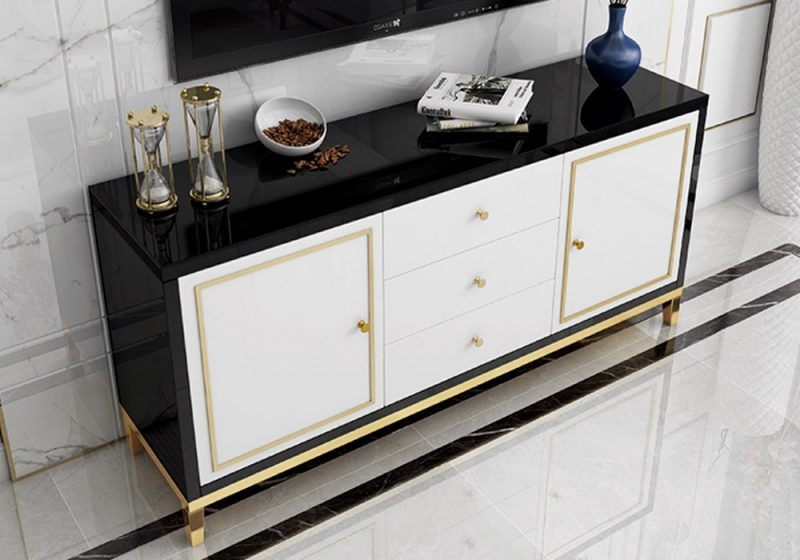 Fancy Homes Vermont glass top buffet table black white