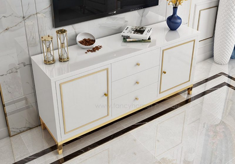 Fancy Homes Vermont glass top buffet table in white