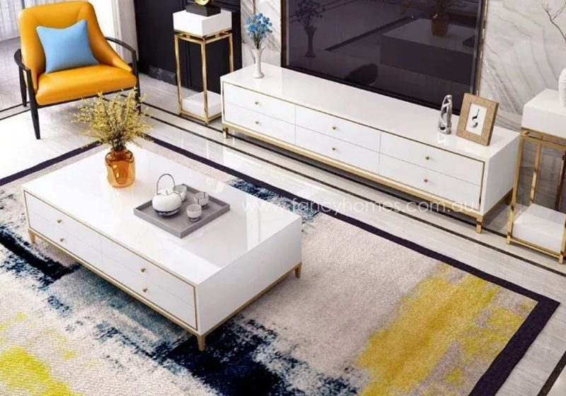 Vermont glass top coffee table and TV unit in white
