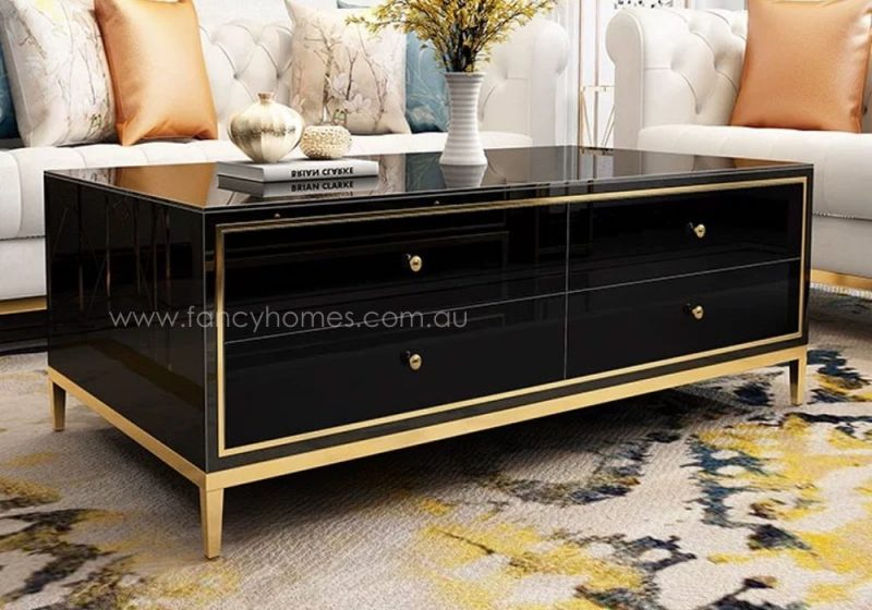 Vermont rectangle glass top storage coffee table in black