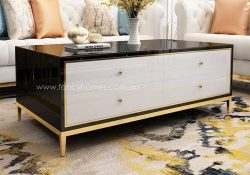 Vermont rectangle storage coffee table white and black