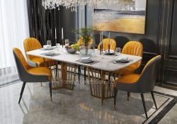 Fancy Homes Alena marble top dining table