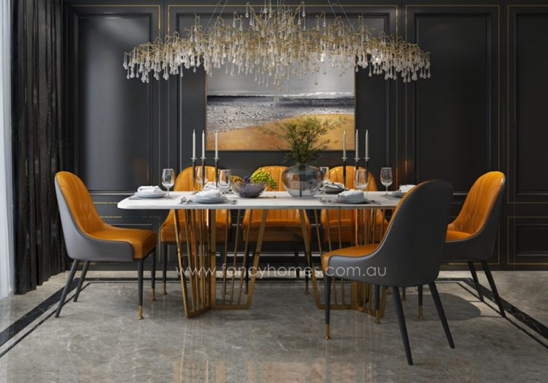 Fancy Homes Alena marble top dining table with stainless steel base