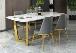 Fancy Homes Jacob Marble Top Dining Table with Gold Stainless Steel Base