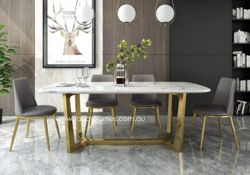 Fancy Homes Jacob Marble Top Dining Table with Gold Stainless Steel Base Front