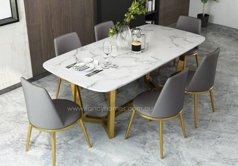 Fancy Homes Jacob Marble Top Dining Table with Gold Stainless Steel Base Top
