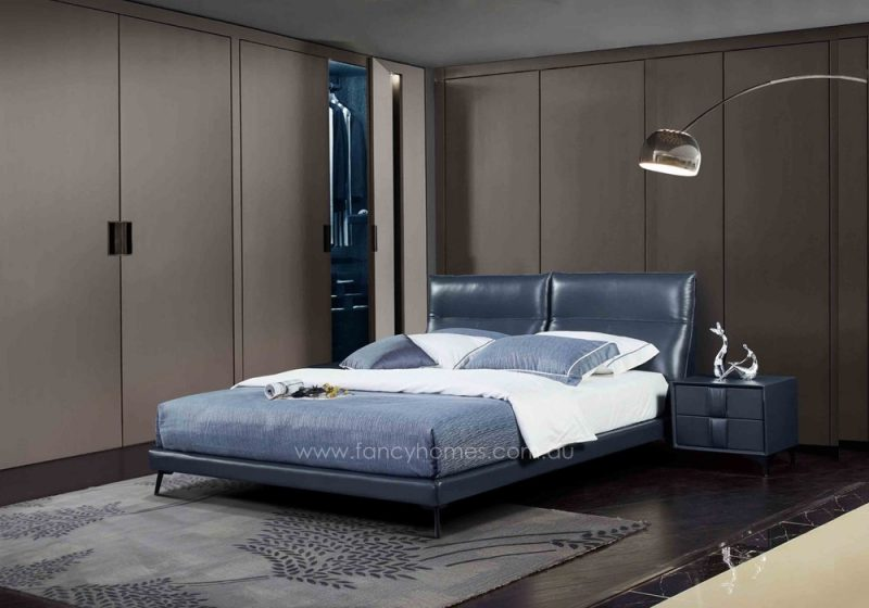 Fancy Homes Aria Italian leather bedframe, leather beds featuring carbon steel legs