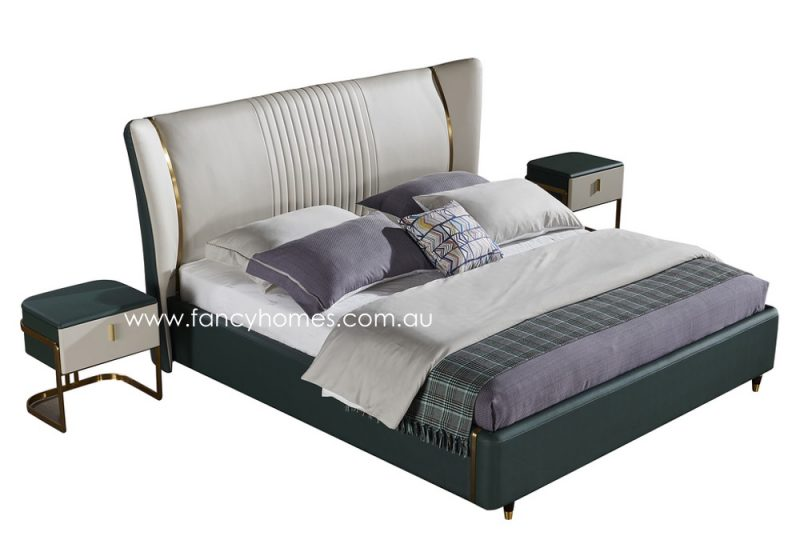 Fancy Homes Caprice Italian leather bed frame leather beds top