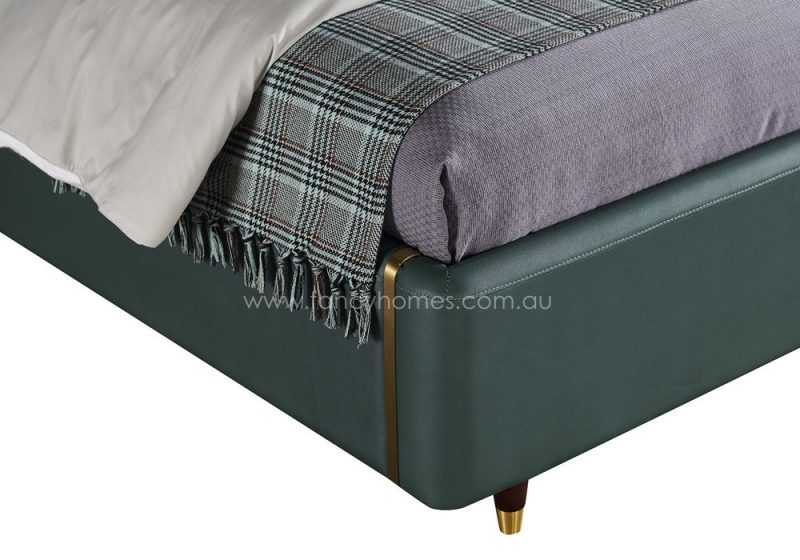 Fancy Homes Caprice Italian leather bed frame leather beds solid wooden legs with stainless steel
