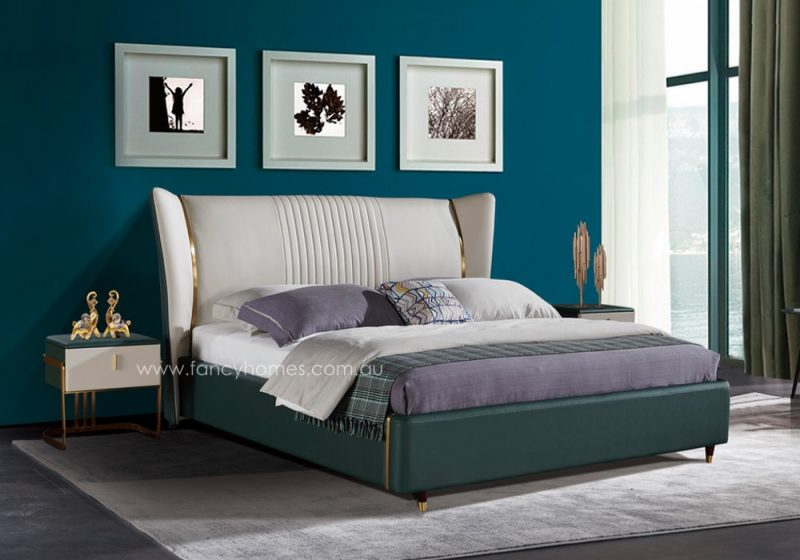 Fancy Homes Caprice Italian leather bed frame leather beds features stainless steel detail and wooden legs