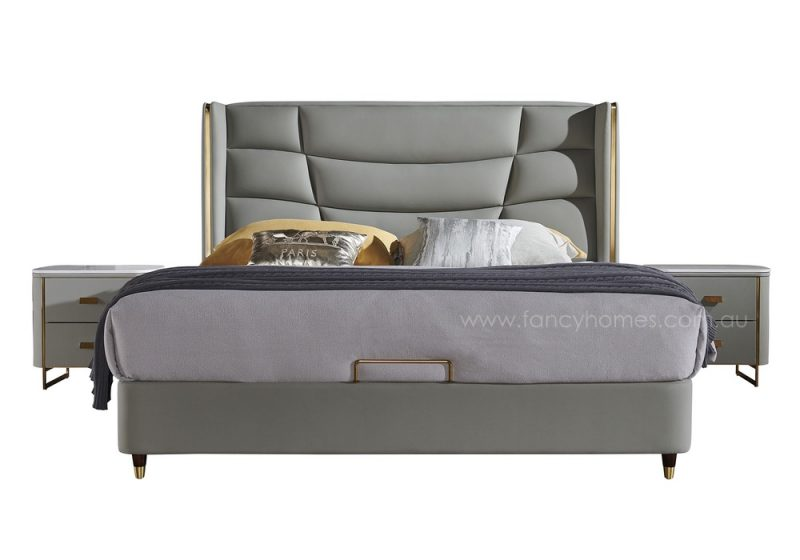 Etan Italian leather bed frame leather beds front