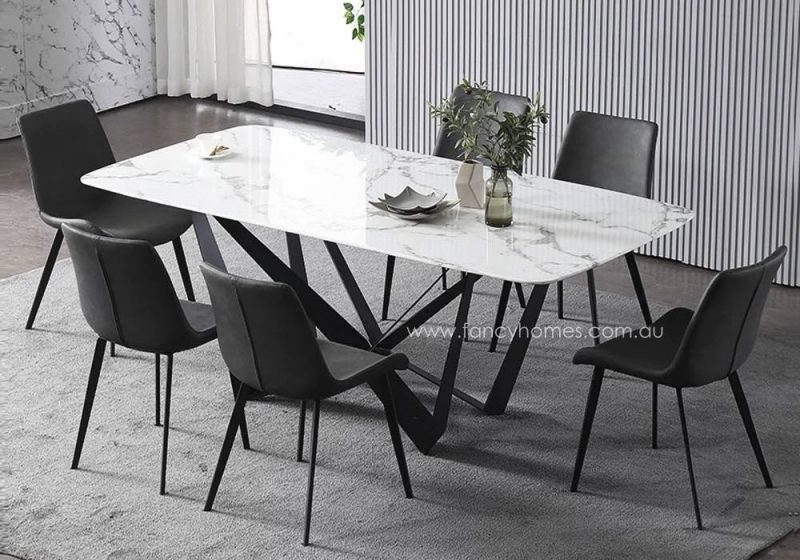 Fancy Homes Leighton marble top dining table with carbon steel base