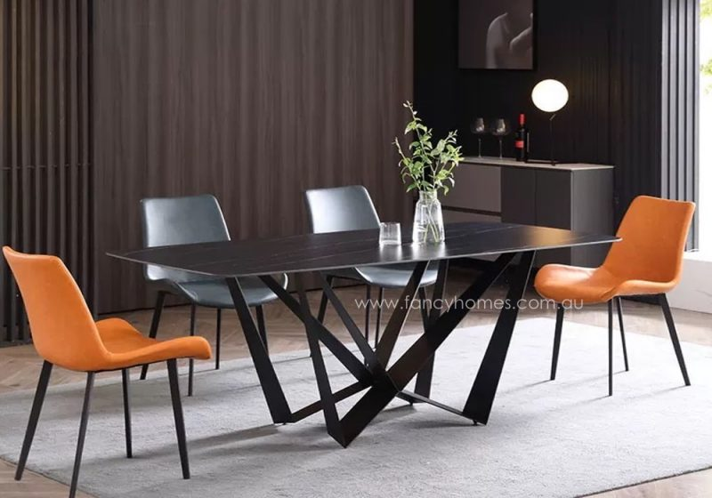 Fancy Homes Leighton sintered stone dining table with carbon steel legs