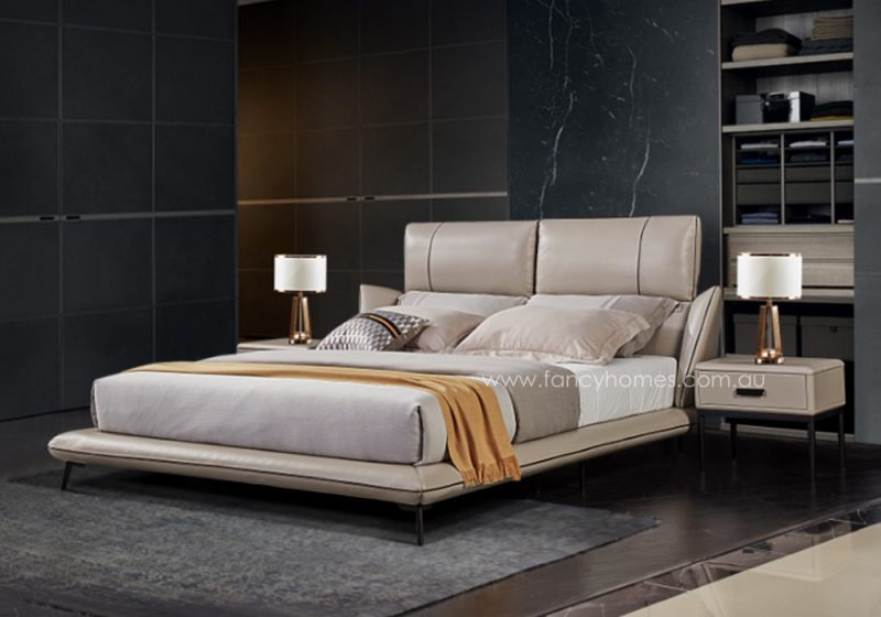 Fancy Homes Lennox Italian leather bed frame, leather beds with adjustable headrests
