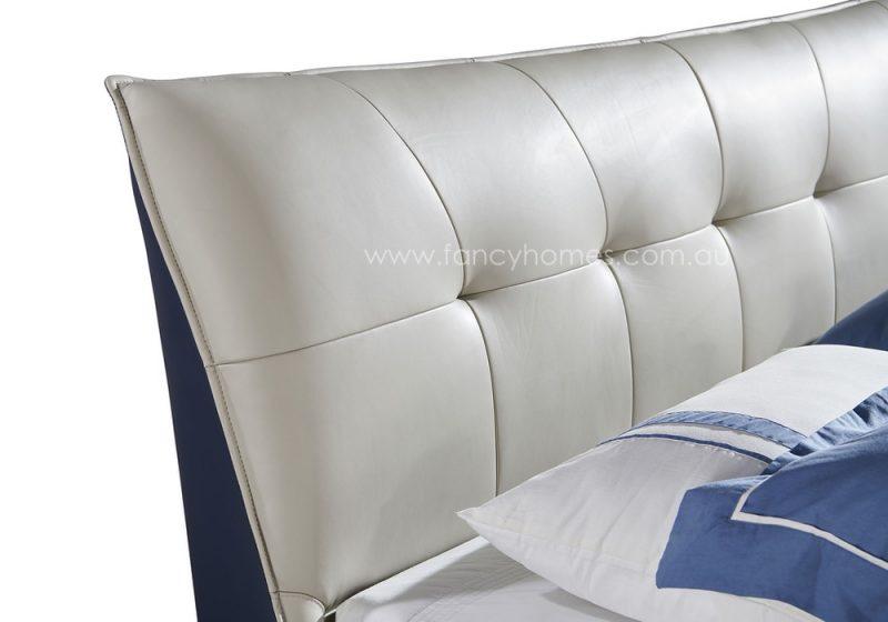 Fancy Homes Oliver Italian leather bed frame high-density foam bed head