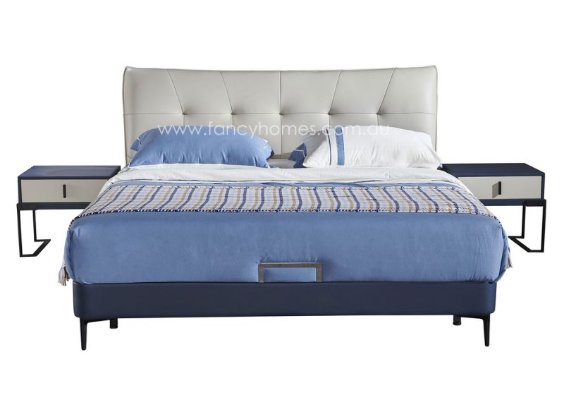 Fancy Homes Oliver Italian leather bed frame leather beds front