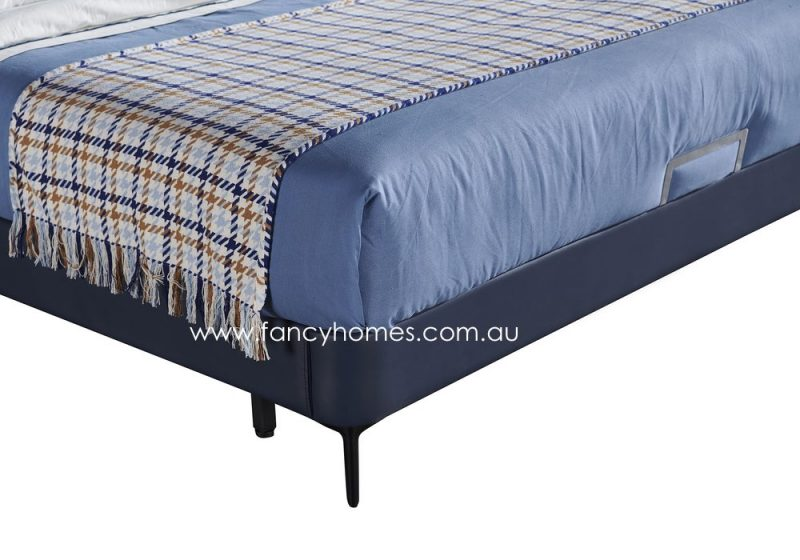 Fancy Homes Oliver Italian leather bed frame features carbon steel legs