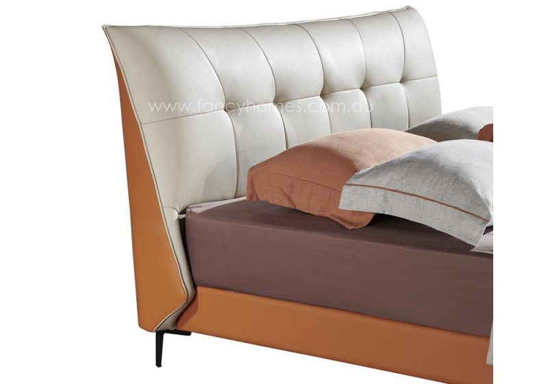 Fancy Homes Oliver Italian leather bed frame bed head