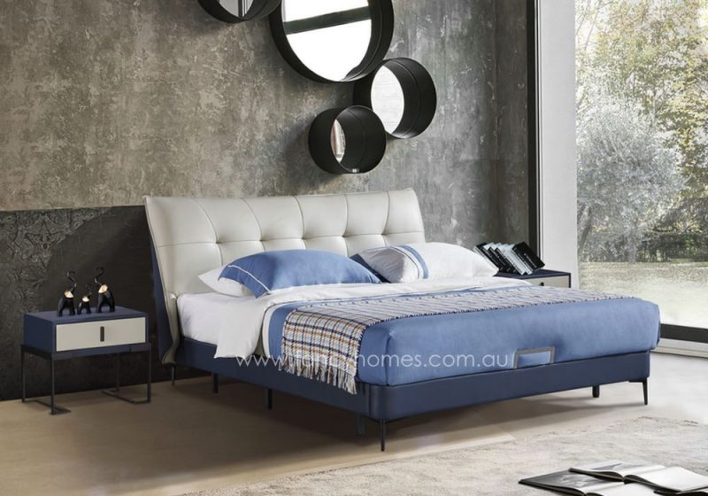 Fancy Homes Oliver Italian leather bed frame leather beds white and blue