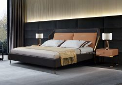 Fancy Homes Sibyl Italian leather bed frame features stainless steel details adding a touch of elegance