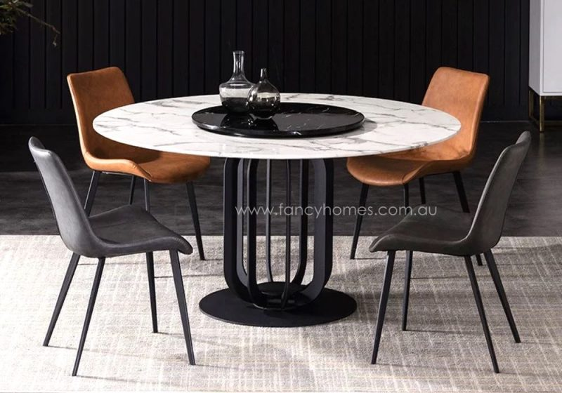Fancy Homes Zuri round marble top dining table with Lazy Susan
