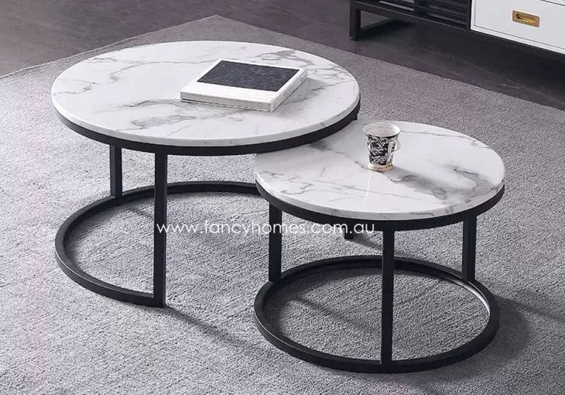 Fancy Homes Chelsea Marble Top Coffee Table with Black Stainless Steel Base