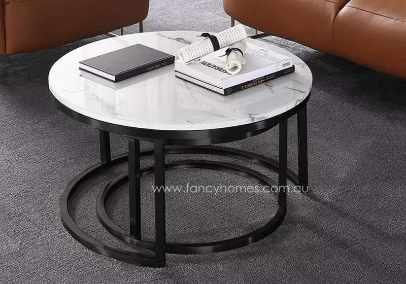 Fancy Homes Chelsea Marble Top Coffee Table with Black Stainless Steel Base, Featuring Space-saving Design