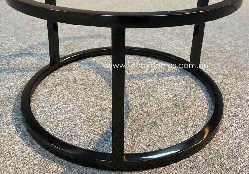 Fancy Homes Chelsea Marble Top Coffee Table Black Stainless Steel Base Detail