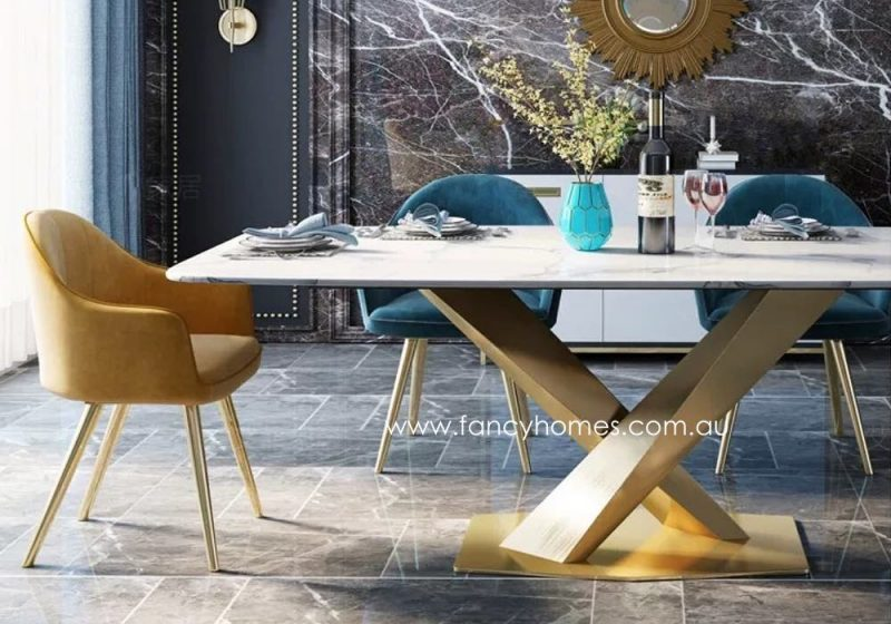 Fancy Homes Rocco Marble Top Dining Table with Gold Base