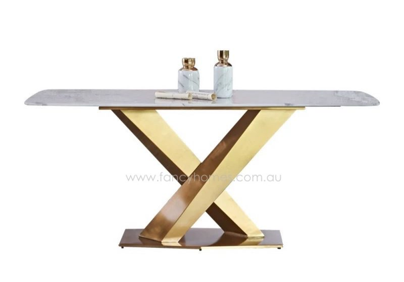 Fancy Homes Rocco Marble Top Dining Table with Gold Stainless Steel Base Front