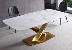 Fancy Homes Rocco Marble Top Dining Table with Gold Stainless Steel Base