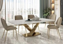 Fancy Homes Rocco White Sintered Stone Dining Table with Gold Stainless Steel Base