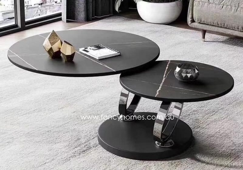 Fancy Homes Tutti swivel space-saving sintered stone coffee table with black gold table top