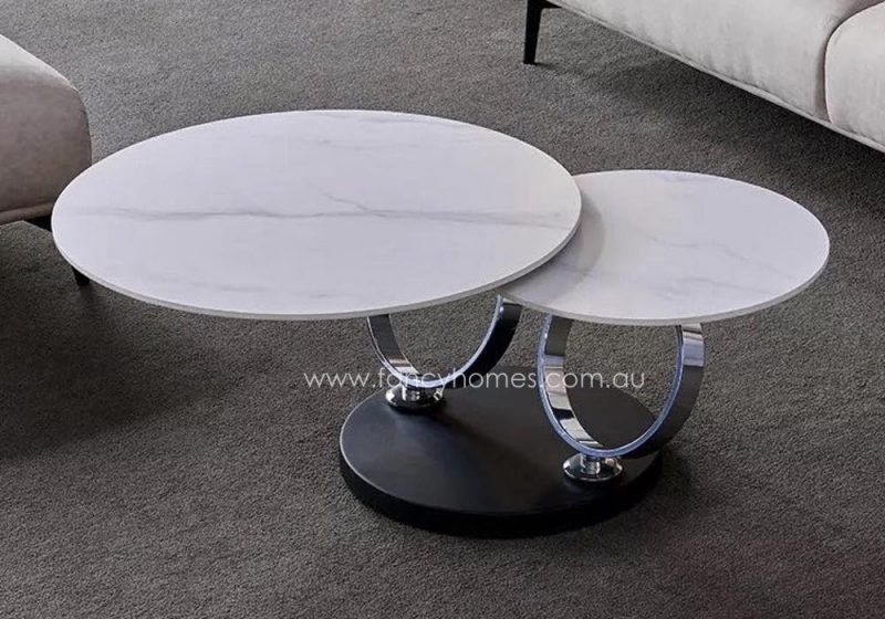 Fancy Homes Tutti swivel space-saving sintered stone coffee table with cala white table top