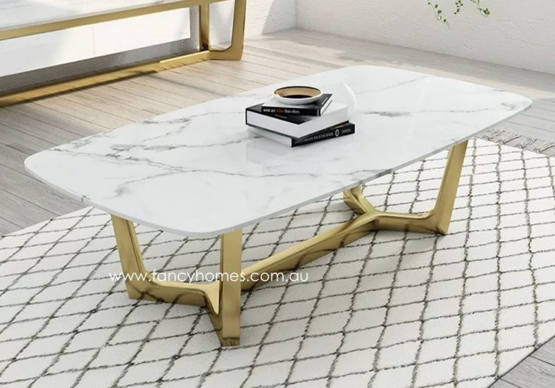 Fancy Homes Jacob Marble Top Coffee Table with Gold Stainless Steel Bsse