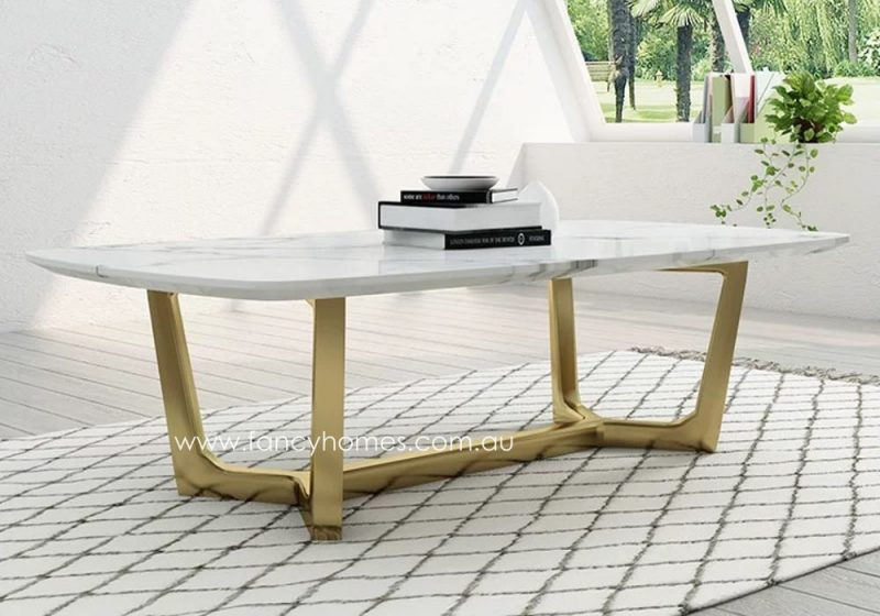 Fancy Homes Jacob Marble Top Coffee Table Gold Stainless Steel Base