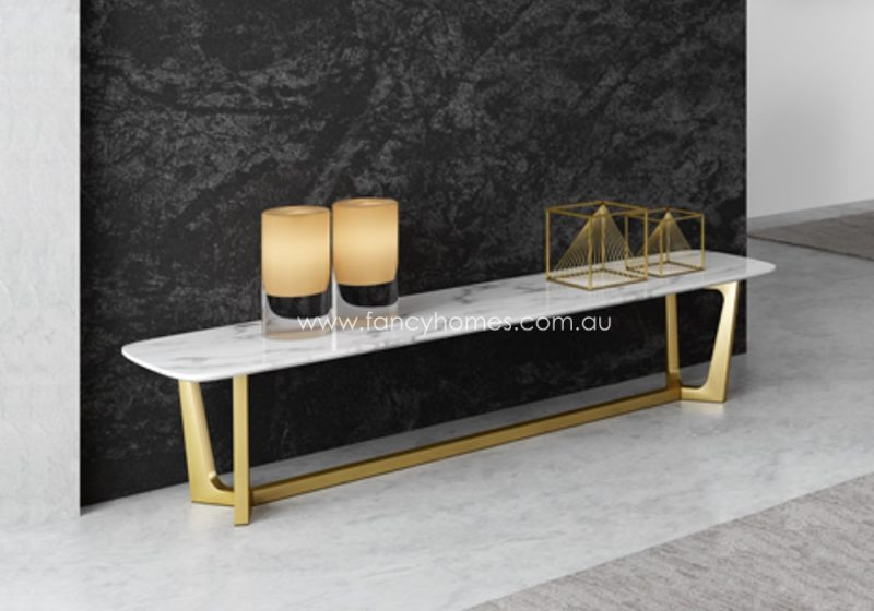 Fancy Homes Jacob Marble Top TV Unit with Gold Stainless Steel Base