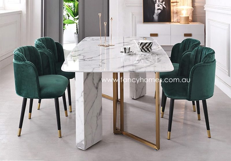 Fancy Homes Bianca Marble Top Dining Table Gold Base