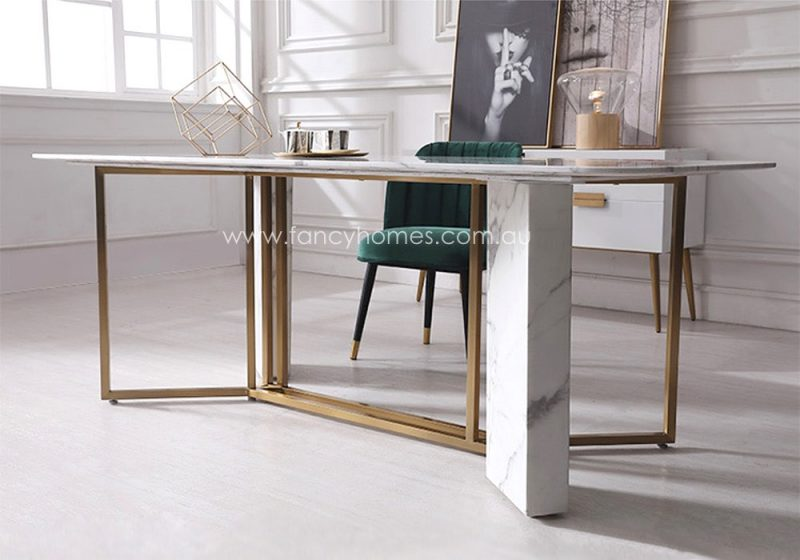 Fancy Homes Bianca Marble Top Dining Table Gold Stainless Steel Base