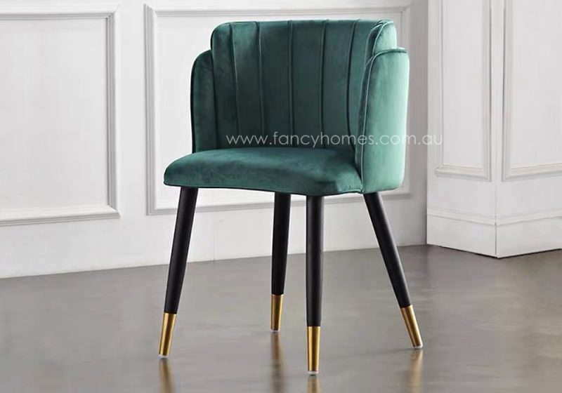 Fancy Homes Tyra Velvet Dining Chair with Gold Leg Caps