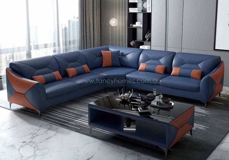Fancy Homes Brooklyn-B Corner Leather Sofa Blue and Orange