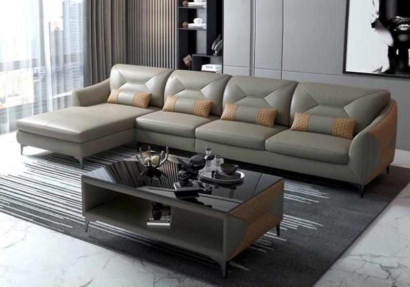 Fancy Homes Brooklyn-C Chaise Leather Sofa Beige and Sand