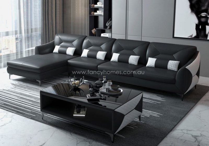 Fancy Homes Brooklyn-C Chaise Leather Sofa Black and White