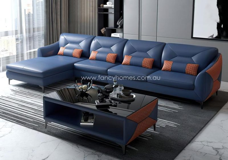 Fancy Homes Brooklyn-C Chaise Leather Sofa Blue and Orange