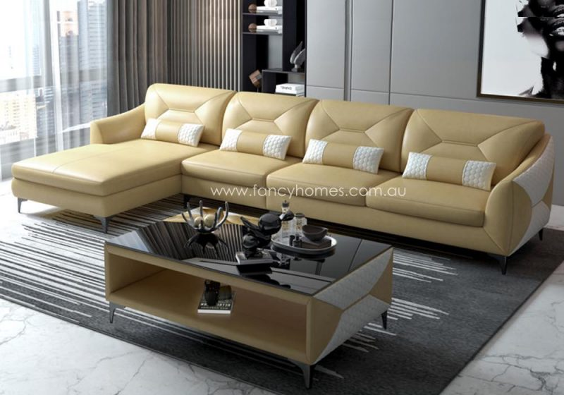 Fancy Homes Brooklyn-C Chaise Leather Sofa Cream and White