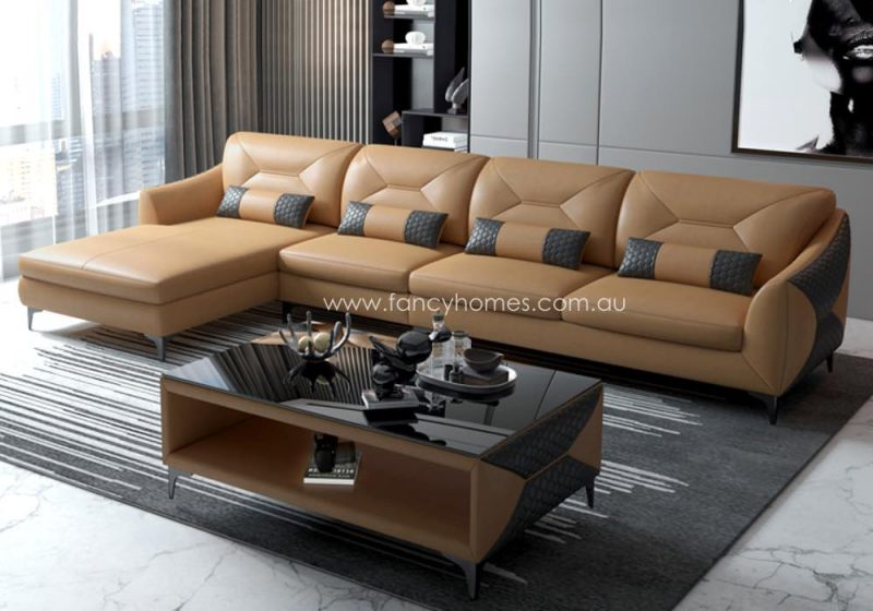 Fancy Homes Brooklyn-C Chaise Leather Sofa Sand and Dark Grey