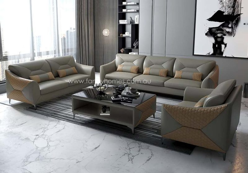 Fancy Homes Brooklyn-D Lounges Suites Leather Sofa Beige and Sand
