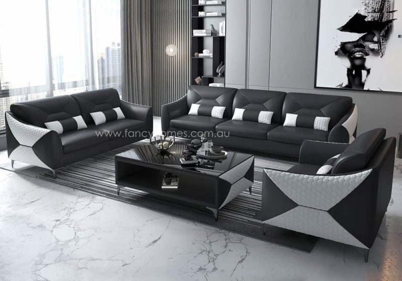 Fancy Homes Brooklyn-D Lounges Suites Leather Sofa Black and White